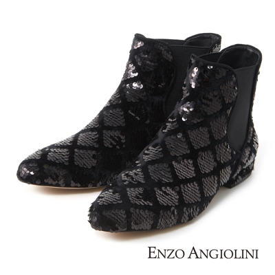 ENZO ANGIOLINI--尖頭亮片卻爾西短靴-亮眼黑