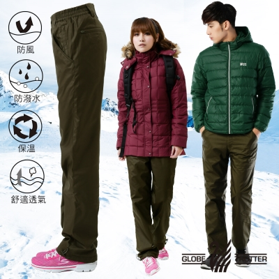 【遊遍天下】中性款顯瘦防風防潑水禦寒刷毛保暖褲/ 防風雪褲P104橄綠