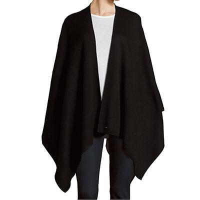 Calvin Klein針織毛料披巾(黑)