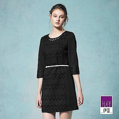 ILEY伊蕾 時尚幾何珠飾緹花洋裝(黑)