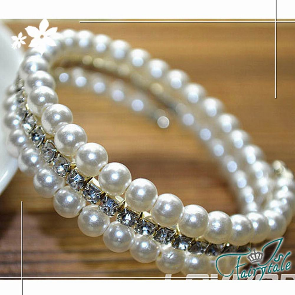 iSFairytale伊飾童話 珍珠夾鑽 彈性環繞珍珠手環