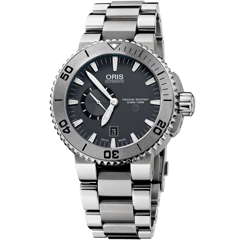 Oris Aquis【鈦】專業500米小秒針潛水機械腕錶-灰/46mm