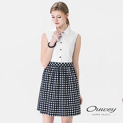 OUWEY歐薇 甜美拼接格紋背心洋裝(白)