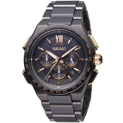 SEIKO 精工 Brightz 太陽能電波限量腕錶(SAGA214J)黑/42mm