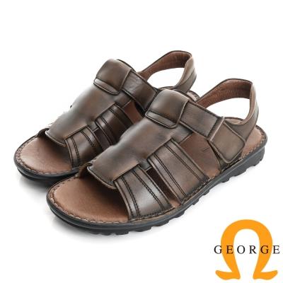 GEORGE 喬治-氣墊系列 仿舊牛皮魔鬼氈休閒涼鞋拖鞋(男)-棕色