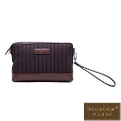 Roberta Colum - 倫敦時尚紳士休閒配牛皮經典款手拿包-咖