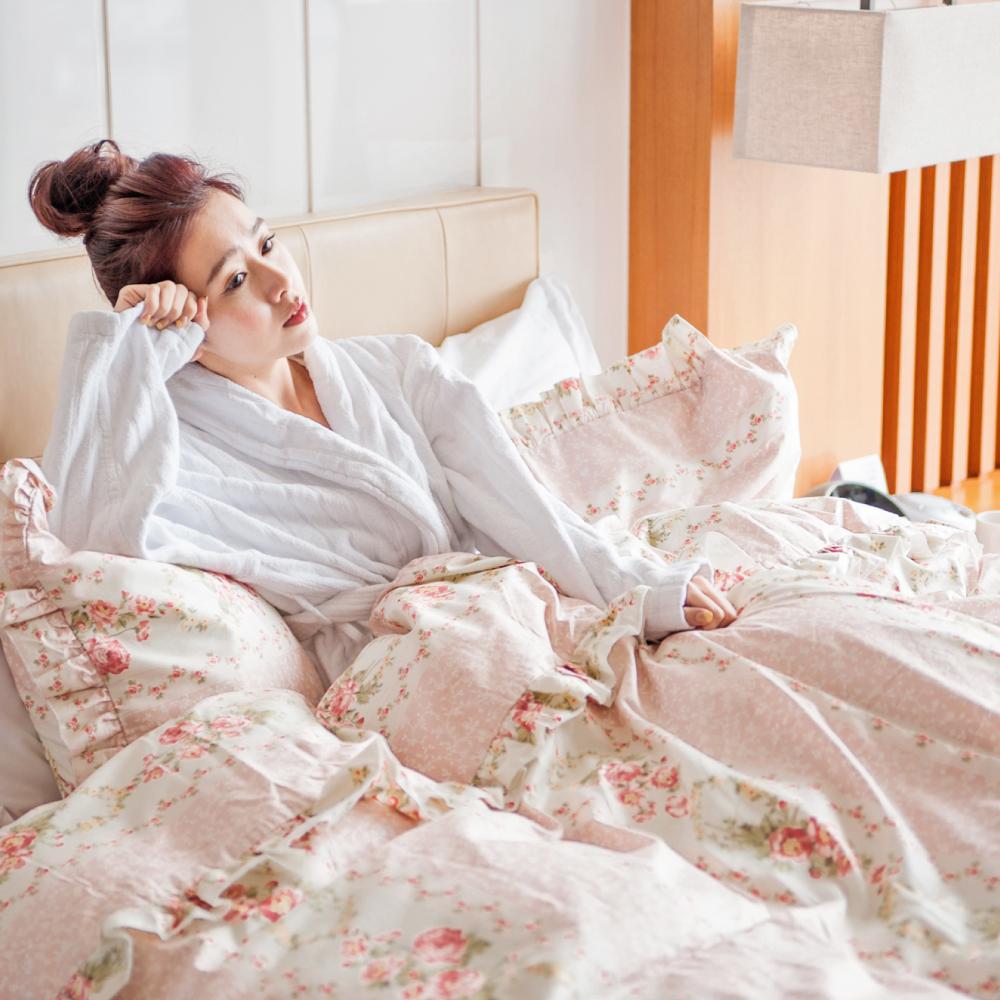 花自田園 台灣製 精梳純棉  雙人薄被套床包枕套四件組 翔仔居家