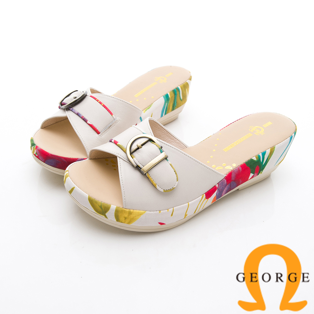 GEORGE 喬治-熱帶風情厚底拖鞋涼鞋-米