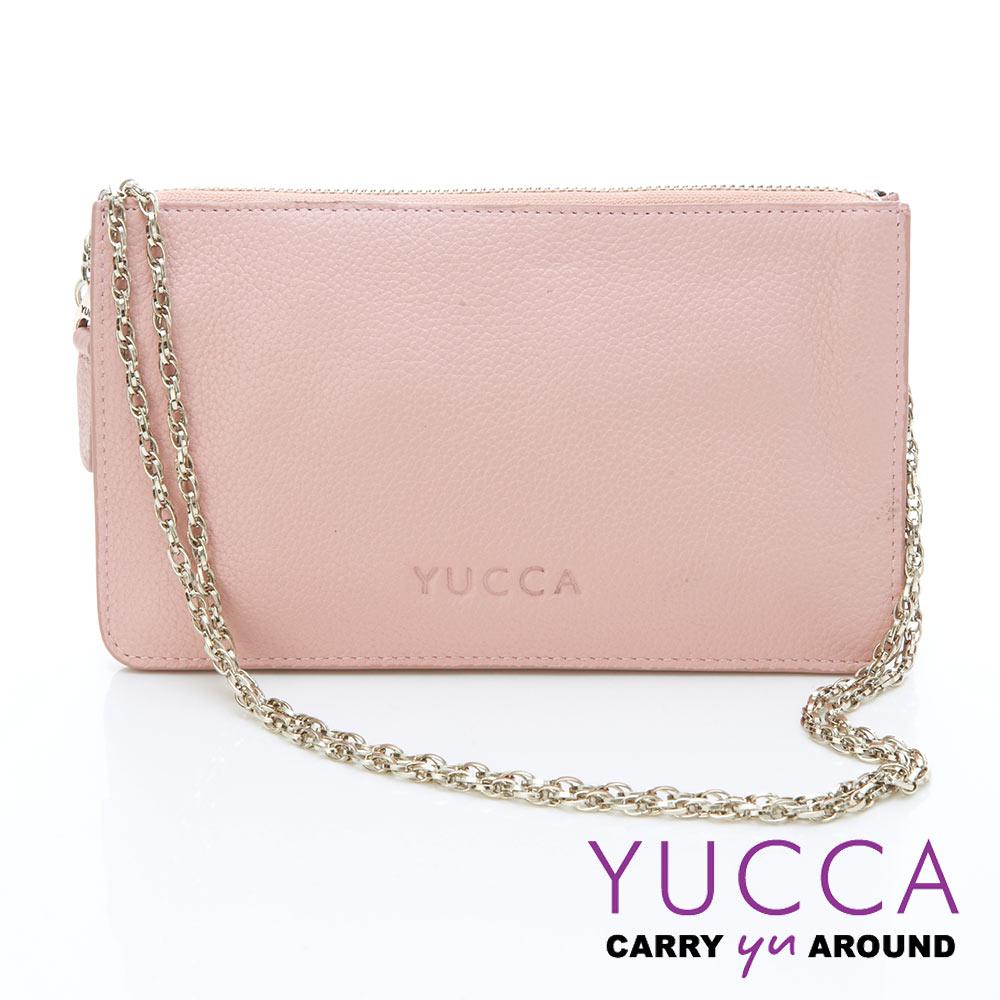 YUCCA - 牛皮淑女優雅手拿鏈帶包 - 粉紅色 D0020025009
