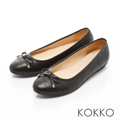 KOKKO-經典菱格紋真皮蝴蝶結平底鞋-經典黑