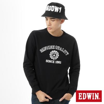 EDWIN-大E貼布圓領長袖T恤-男款-黑色
