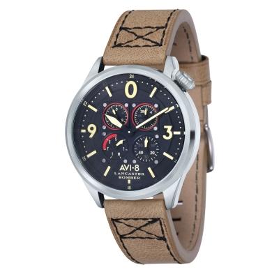 AVI-8 飛行錶 Lancaster Bomber 皇家手錶-黑x咖啡/44mm