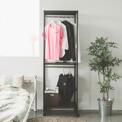 完美主義 雙桿衣櫥/附輪/鐵力士(2色可選)-60X45X180cm