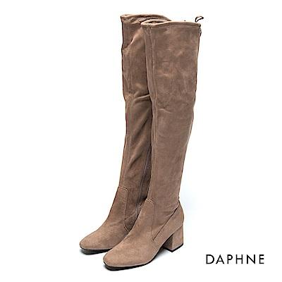 達芙妮DAPHNE 長靴-抽繩彈力絨布高跟過膝長靴-杏