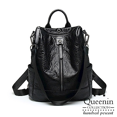 DF Queenin日韓 - 韓流時尚仿羊皮單拉鍊側肩雙肩兩用後背包-共<b>2</b>色