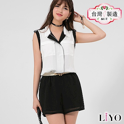 LIYO理優MIT無袖襯衫連身褲(黑)