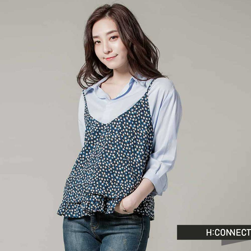 H:CONNECT韓國品牌女裝-V領細肩碎花荷葉邊外搭背心-藍快