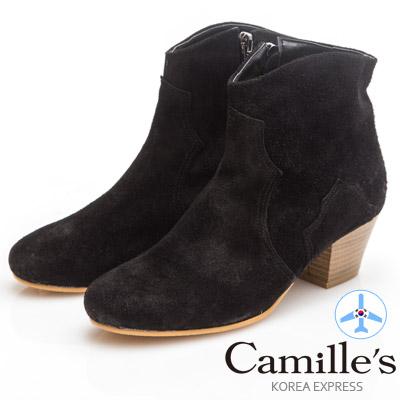 Camille's 韓國空運-素面麂皮拉鍊粗跟短靴-黑色