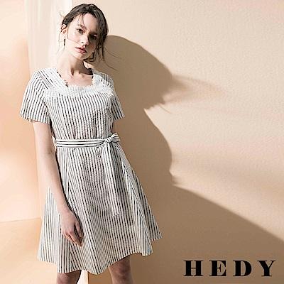 Hedy赫蒂 繡花方領條紋綁帶洋裝(共二色)