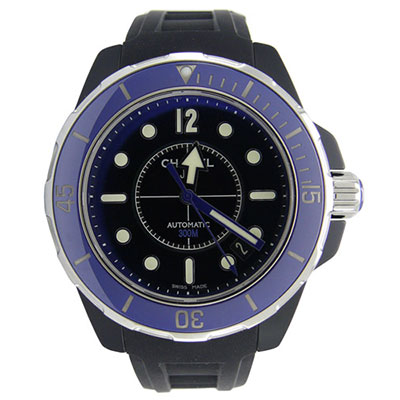 CHANEL J12 MARINE (H2561) 陶瓷機械橡膠錶帶男錶-黑藍/38mm