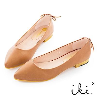 iki2 時尚簡約可愛尖頭鞋-咖