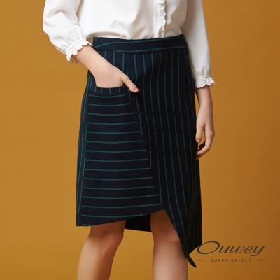 OUWEY歐薇 率性簡約百搭條紋窄裙(藍)