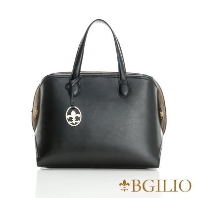 義大利BGilio-都會時尚拉鏈兩用牛皮包-黑色  2112 . 002 - 05