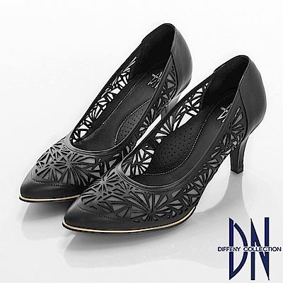 DN 俐落時尚 質感簍空電雕真皮舒適跟鞋-黑