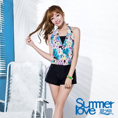 夏之戀SUMMERLOVE 比基尼泳裝 假兩件式連身褲 花朵圖騰