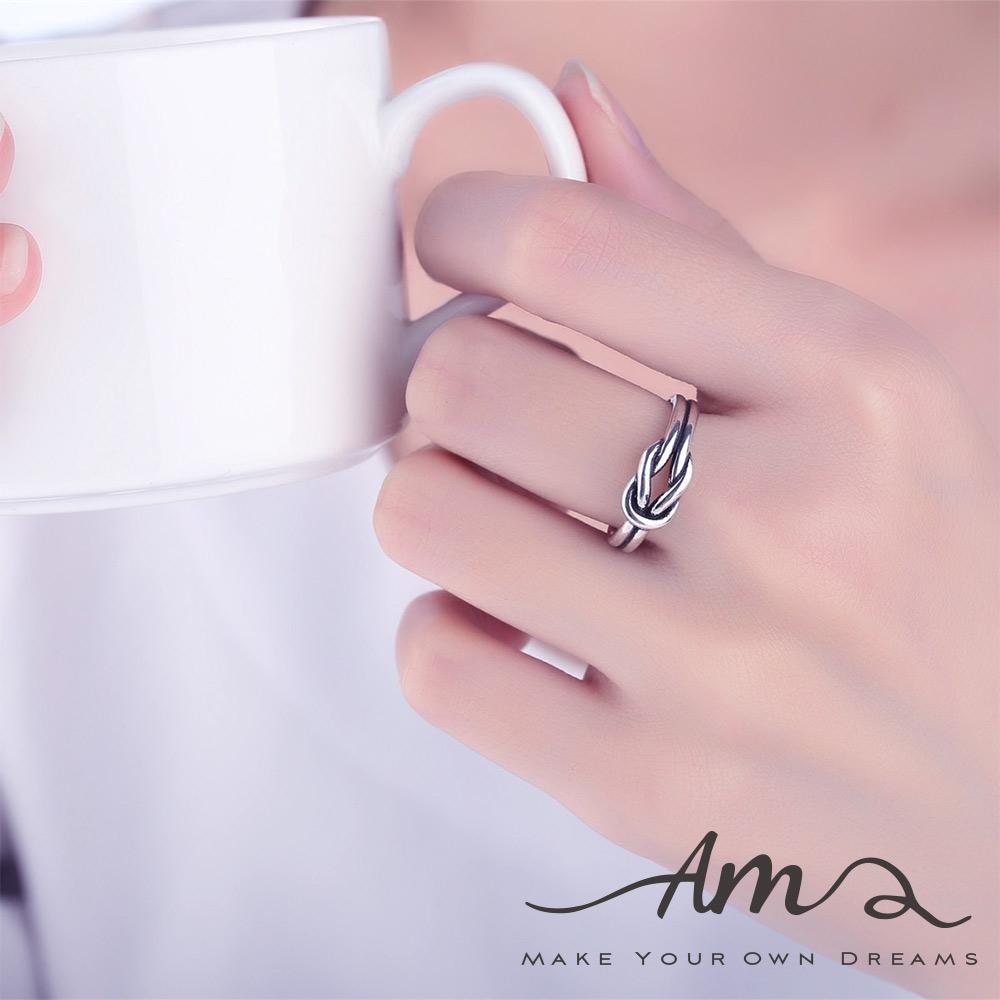 AM輕飾品復古打結純銀戒指開口戒活圍戒