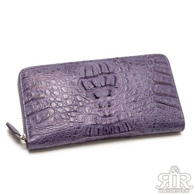 2R-珍稀鱷魚皮-限量訂製拉鍊護照長夾-彩豔紫