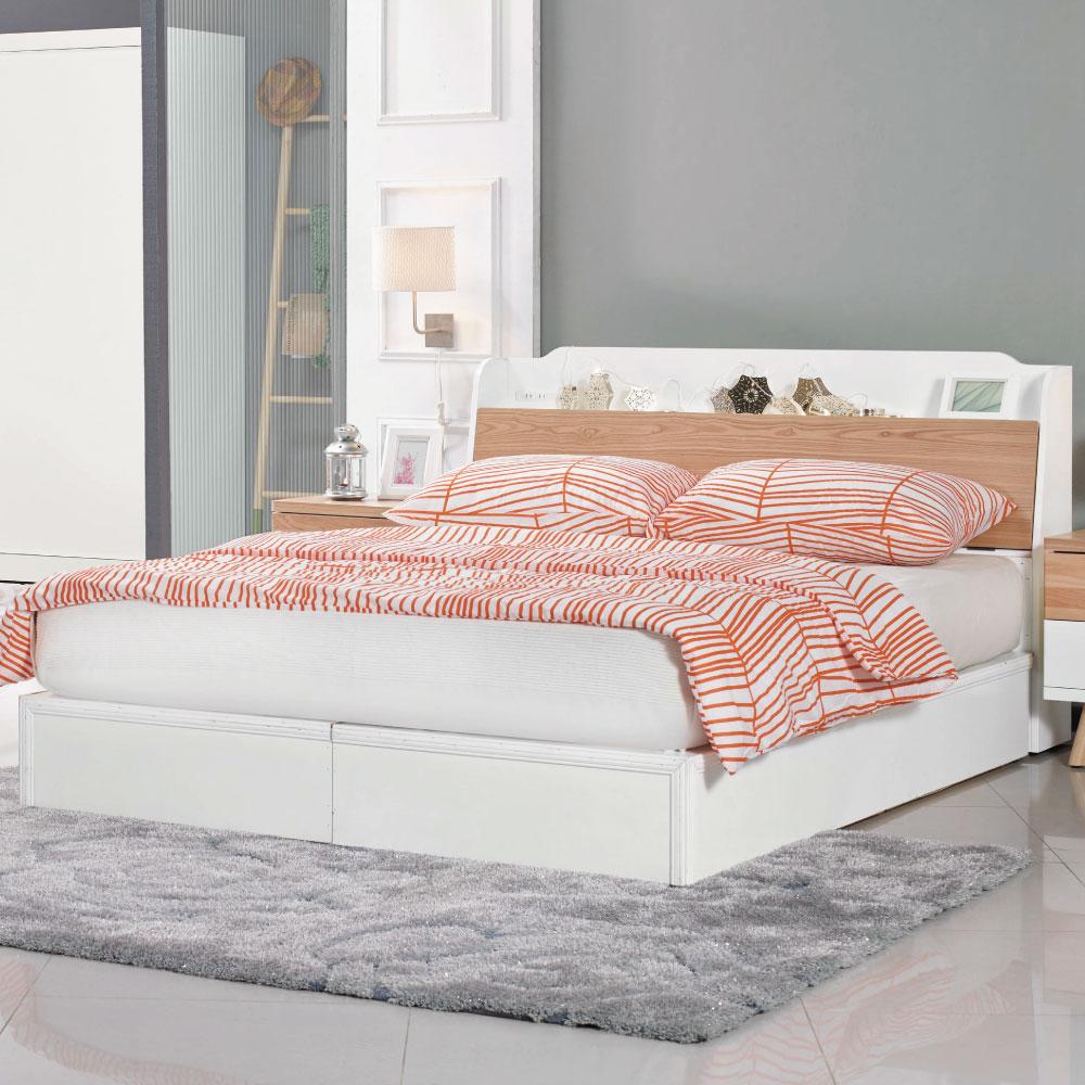 床台 佐伊5尺雙人 品家居 (床頭箱+6分床底)不含床墊