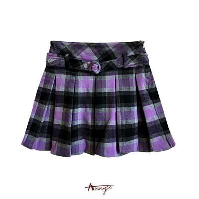 Anny休閒夢幻紫格紋壓褶短裙*0254紫