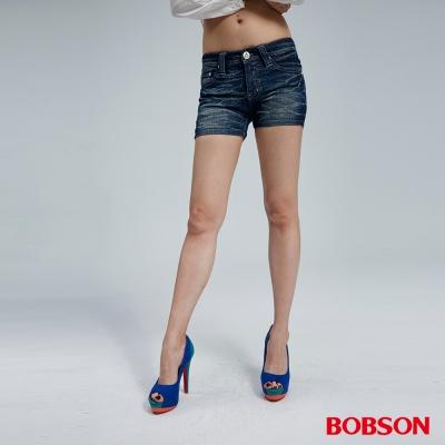 BOBSON 女款水波紋牛仔短褲
