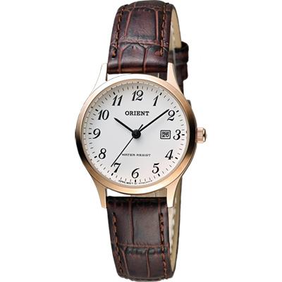 ORIENT 東方錶 優雅復刻阿拉伯數字石英女錶-白x玫瑰金框/28mm