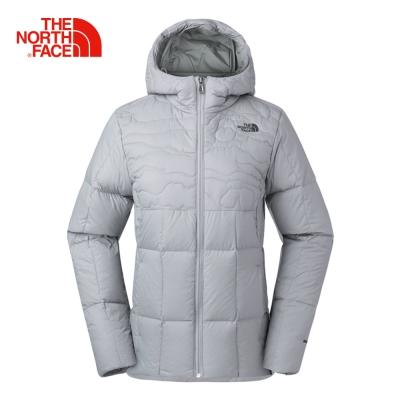 The North Face北面女款銀灰色鵝絨保暖羽絨外套