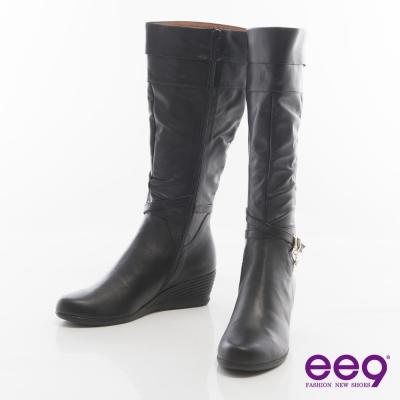 ee9率性都會~皮帶環釦纏繞百搭楔型長靴*黑色