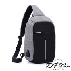 DF BAGSCHOOL - 單肩式USB安全防盜斜背包-共3色