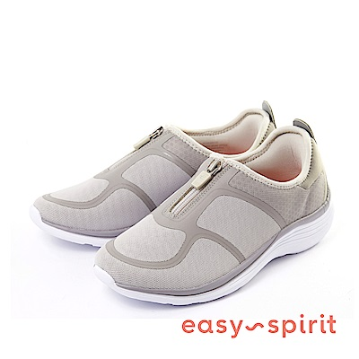 Easy Spirit--輕量拉鍊休閒走路鞋-質感灰