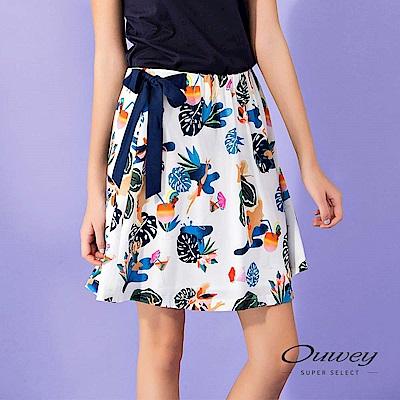 OUWEY歐薇 夏日印花涼感造型短裙(白)