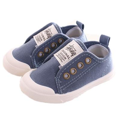 帥氣魔鬼貼帆布鞋 藍 sk0195 魔法Baby