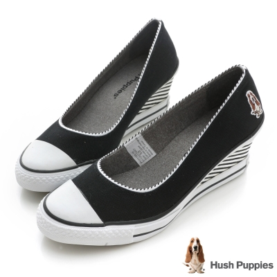 Hush Puppies 海軍風帆布咖啡紗楔型鞋-黑
