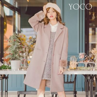 東京著衣-yoco 甜氛美人西裝領毛絨袖口長大衣-S.M.L(共一色)