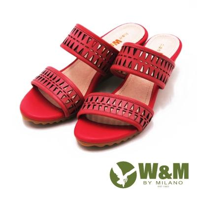 W&M 幾何雕花素色坡跟拖鞋 女鞋-桃(另有米)