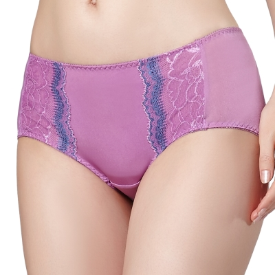 思薇爾 星語系列M-XL蕾絲低腰平口褲(桑椹紫)