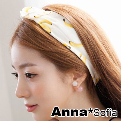 AnnaSofia 透格俏蕉 布質兔耳髮帶髮圈(黃白系)