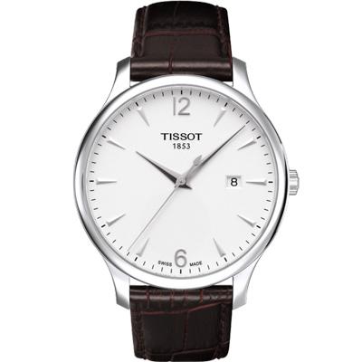 TISSOT T-TRADITION 都會超薄時尚腕錶-白/42mm