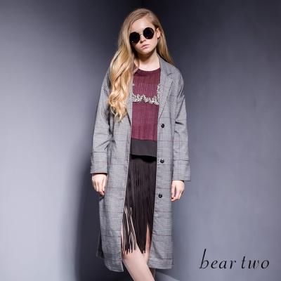 beartwo-威爾斯王子格長版綁帶外套-灰色