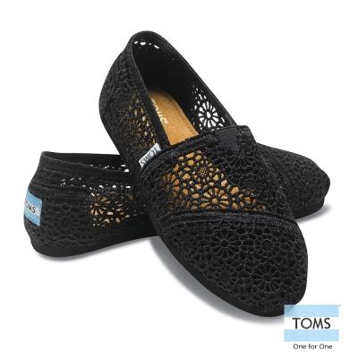 TOMS 經典蕾絲懶人鞋-女款(黑)
