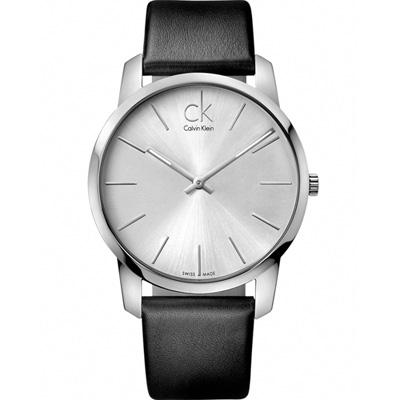 CK Calvin Klein 都會系列簡約時尚腕錶-銀白/43mm